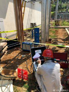 对110kV磨石变电站电缆及其电容器间隔进行耐压试验
