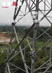 电网工作者高空开展设备精细化检查和消缺工作
