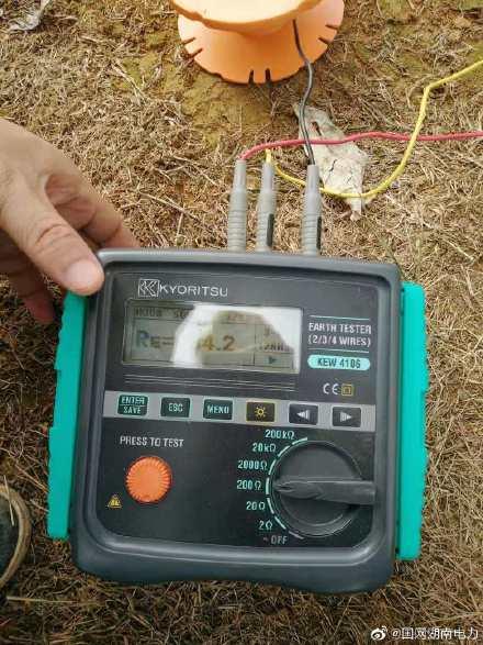 国网宁远供电公司输电线路班积极开展接地电阻测量工作