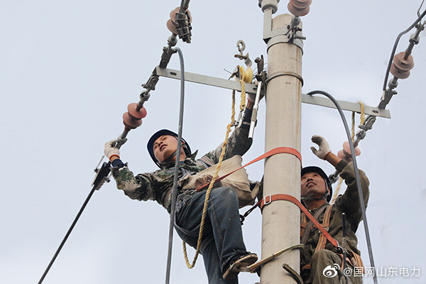 国网成武县供电公司对受损线路进行抢修